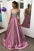 Double Straps Deep V Neck Beaded Bodice Lilac Light Purple Designer Prom Dress Evening Gown