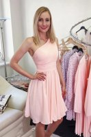 Beautiful One Shoulder Elastic Back Teenage Girl Homecoming Dress Blush Pink