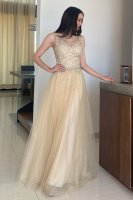 Sheer Neckline Keyhole Back With Hook Champagne Floor Length Lady Prom Gown Fiesta