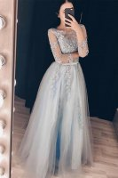 Demure Transparent Scoop 3/4 Sleeves Applique Long Prom Evening Dress With Belt