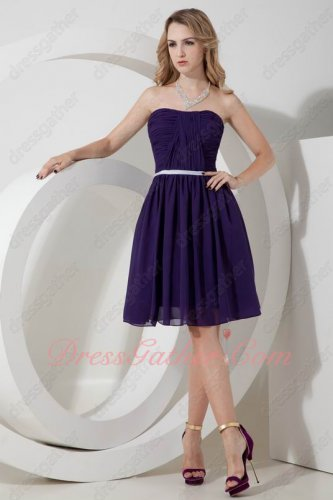 Strapless Pansy Purple Chiffon Knee Length Bridesmaid Dress With Belt Outdoor Wedding