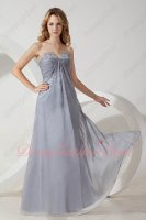 V Shaped Cut Out 30D Chiffon Sivler Gray Chiffon Strapless Bridesmaid Dress With Beads