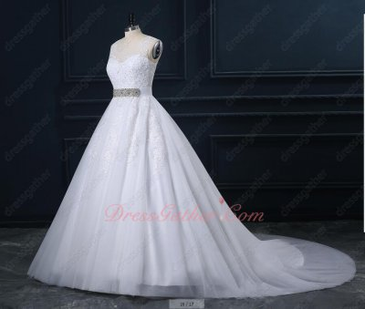 White Appliques Cathedral Train Puffy Bridal Ball Gown Rhinestone Sash On Sale