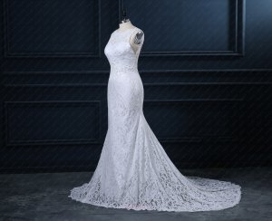 Full France Lace Scoop Neck Wedding Dress Open Back With Beading Curtains Backside