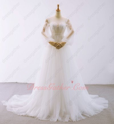 Empire Waist Sheer Scoop Neck Long Puffy Bubble Sleeves Wedding Bridal Dress Elegant