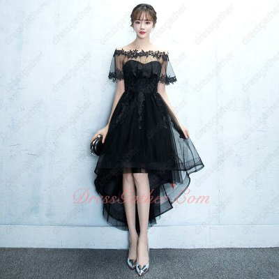 Appliques Detachable Neck Horsehair Curly Hemline High Low Dancing Cocktail Gowns