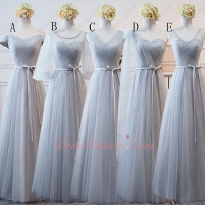 Series Different Neckline Silver Bridesmaid A-line Sash Dress