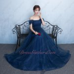 Off Shoulder Navy Formfitting Bridesmaid Long Dress With Back Bowknot