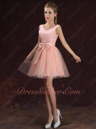 Fashionable Colour Blush One Shoulder Short Homecoming Lace Dress With Bowknot