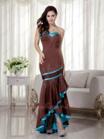 Sedate Beaded High-low Brown Mermaid Military Prom Dress With Aqua Blue Details