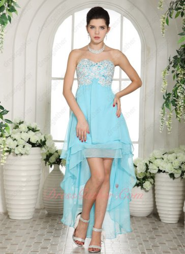 Lightsome Appliques High Low Design Aqua Blue Chiffon Commencement Prom Dress