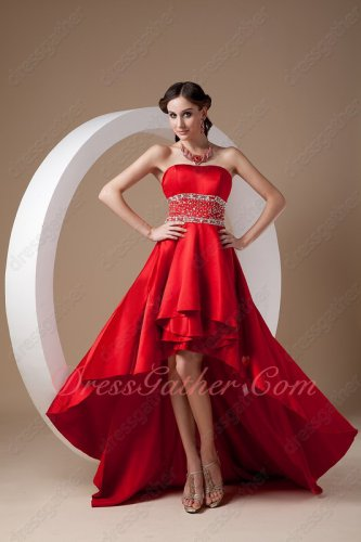 Junoesque Beading Wine Red A-line High-low Wedding Celebration Gown Without Straps