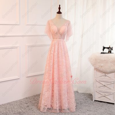 Butterfly/Batwing Sleeve Sheer Bodice Full Lace Floor Length Blush Pink Prom Dress 2019