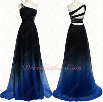Company Activity Hostess Stage Evening Prom Gowns Midnight Blue Fade Gradient Chiffon