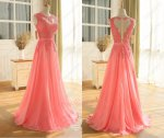 Nude Tulle Sheer Bodice Coral Watermelon Chiffon Skirt Pageant Evening Gowns Sexy Lady