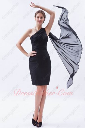 One Shoulder Drapped Ribbon Black Sheath Package Hips Short Prom Dress Top Designer