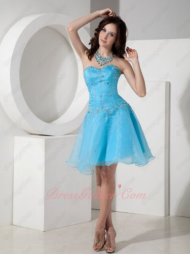 Strapless Aqua Blue Organza Sweet 16 Party Celebrity Dress Low Price