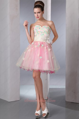 Favorable Colorful Tutu Short Homecoming Prom Gowns Colorized Flowers Intersperse