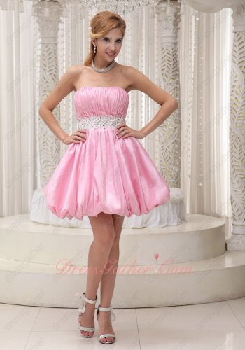 Sweet Pink Strapless Beaded Sash Mini Fluffy Infanta Choir Prom Dress Girl Prefer