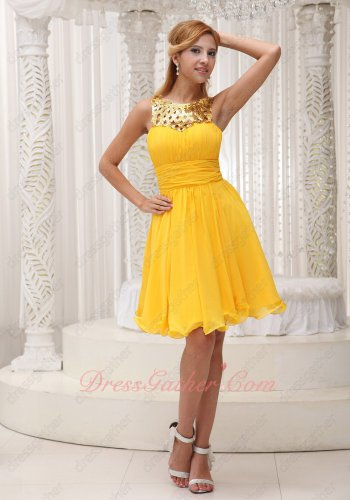 Exclusive Scoop Collar Hollow Out Sequin Ruched Deep Yellow Chiffon Holiday Dress Shop