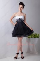 Embroidery Elastic Tapes/Horsehair Layers Hemline White and Black Short Prom Dress