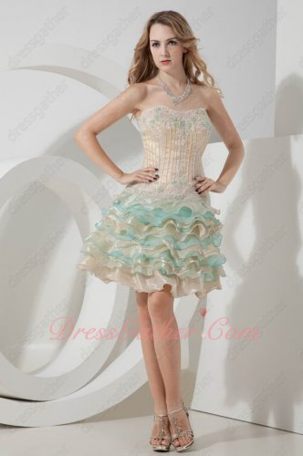 Colorful Layers Organza High Quality Cocktail Short Prom Evening Dress Website Cheap