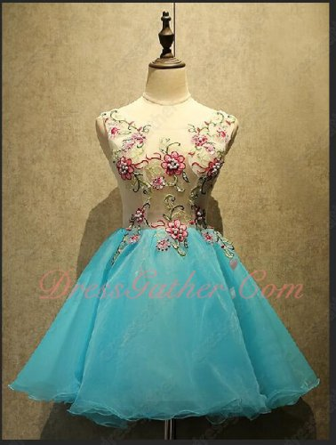 Wintersweet Appliques Decorate Diaphanous Upper Body Aqua Blue Mini Homecoming Dress