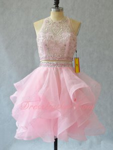 Scoop Neck Two-Pieces Ruffles Pink Organza Commencement Dress Girl Prefer