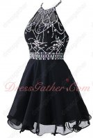 Halter Beading Knee Length Skirt Black Chiffon Costume Party Dress Low Price