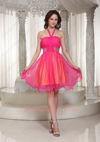 Halter Beaded Hot Pink Chiffon Orange Lining Inside Contrast Senior Prom Gowns