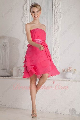 Hot Pink Chiffon Layers Girl Prefer Dama Prom Dress Wedding Party Dress Cheap
