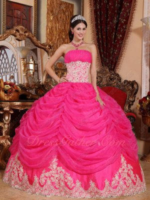 Quinceanera Pageant Party Gown Hot Pink Pick-up Layers Champagne Lacework Bottom Skirt