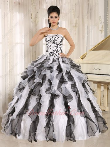 Embroidery White and Black Classical Pop Match Ball Gown Factory Wholesale Online