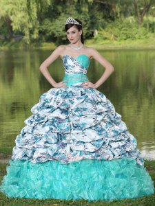Apple Green Organza Ruffles Printed Bubble Train Overlay Quinceanera Gown Girls