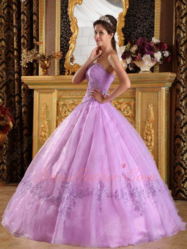 Strapless Lilac Embroidery Bottom Skirt Dress To Quinceanera