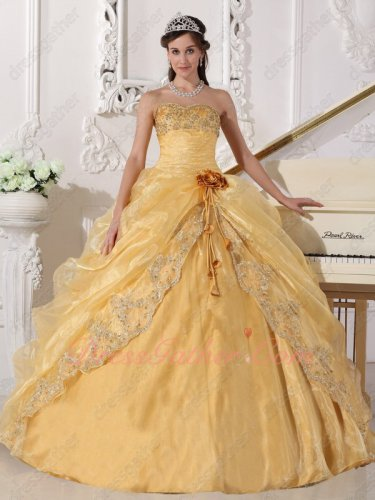 Golden Yellow Shiny Organza Opera Quinceanera Ball Gown Open/Slit With Lacework