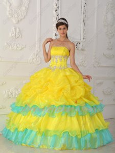Bright Canary Yellow Cake Layers With Aqua Quinceanera Ball Gown Princess