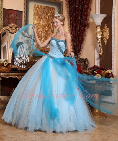 Contrast Gradient Color Aqua/White Mesh Clearance Quinceanera Dress Buy From Factory