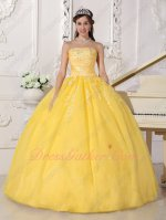 Featured Beauty and the Beast Disney Theme Yellow Quinceanera Ball Dress Cheap