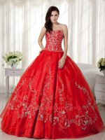 Scarlet Organza Skirt Silver Handwork Embroidery Princess Ball Gown Quinceanera
