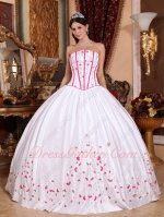 Strapless Basque Waist White High School Quinceanera Dress With Fuchsia Embroidery