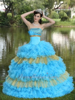 Dropped Waist Aqua Blue Ruffles/Gold Sparkling Tulle Layer Quince Ball Gown