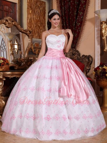 Spaghetti Straps Full Butterfly Baby Pink Quinceanera Ball Gown Dreamlike
