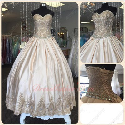 Champagne Satin Gold Pineapple Lace Hemline Quinceanera C'est Quoi Floor Length Satin