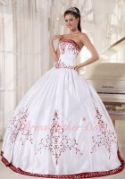 Flat Western Village Quince Prom Ball Gown Pure White Satin With Wine Red Embroidery