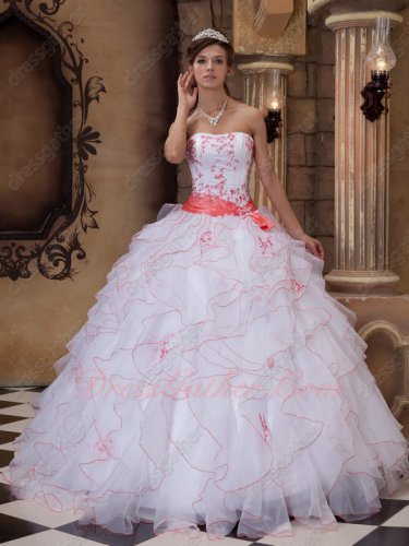 White Organza Quinceanera Gown With Watermelon Embroidery/Curly Ruffles Edge/Ribbon