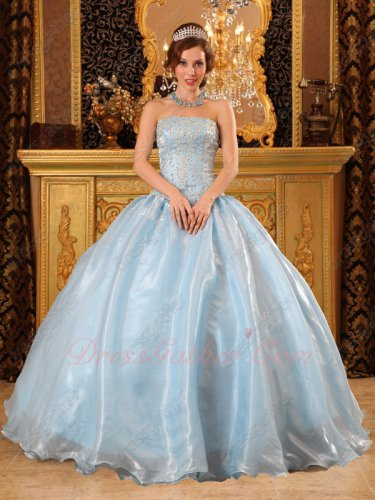 Shallowest Baby Blue Shiny Organza 2019 Spring Quinceanera Party Ball Gown