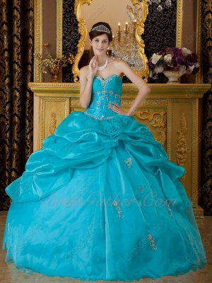Princess Seam Strips Bodice Teal Blue Green Quinceanera Gown Asymmetrical Bubble