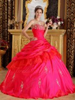 Inexpensive Floor Length Coral Red Taffeta NM Quinceanera Gowns With Applique