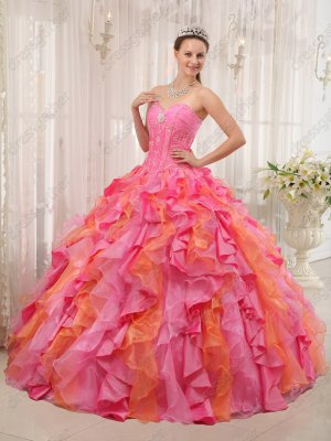 One Hot Pink One Orange Mingled Cascade Ruffles Quince Ball Gown Runway Pageant